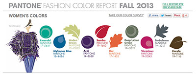 Pantone Fall 2013 Colors for Women